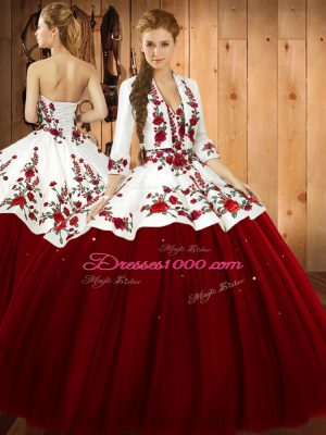 Extravagant Wine Red Satin and Tulle Lace Up Quinceanera Dresses Sleeveless Floor Length Embroidery