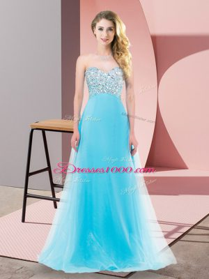 Aqua Blue Empire Sweetheart Sleeveless Tulle Floor Length Lace Up Beading Bridesmaid Dresses