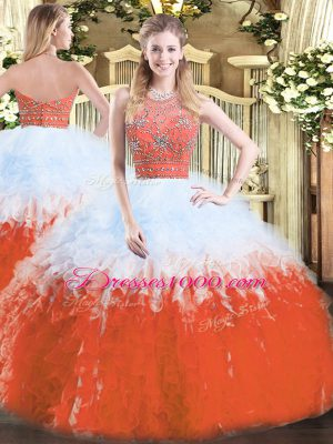 Designer Floor Length Zipper Sweet 16 Quinceanera Dress Multi-color for Military Ball and Sweet 16 and Quinceanera with Beading and Ruffles