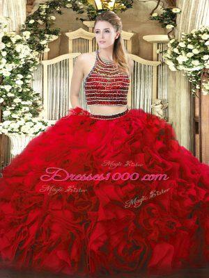 Red Sleeveless Floor Length Beading and Ruffles Zipper Quince Ball Gowns