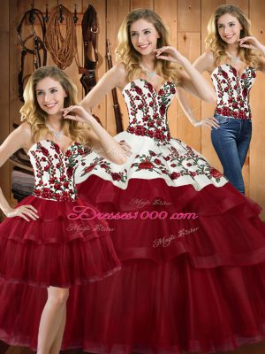 Cute Sweep Train Ball Gowns Sweet 16 Dresses Wine Red Sweetheart Organza Sleeveless Lace Up
