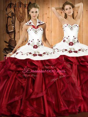 Ideal Wine Red Ball Gowns Organza Halter Top Sleeveless Embroidery and Ruffles Floor Length Lace Up 15 Quinceanera Dress