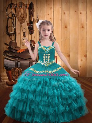Popular Teal Organza Lace Up Girls Pageant Dresses Sleeveless Floor Length Embroidery and Ruffled Layers