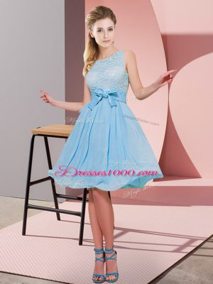 Hot Sale Scoop Sleeveless Chiffon Bridesmaid Dress Lace and Bowknot Side Zipper