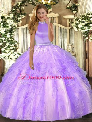 Halter Top Sleeveless Quinceanera Dress Floor Length Beading and Ruffles Lavender Organza