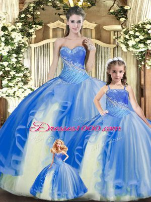 Glorious Multi-color Ball Gowns Tulle Sweetheart Sleeveless Beading and Ruching Floor Length Lace Up Sweet 16 Dress