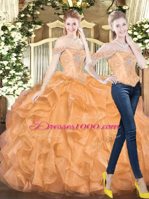 New Style Orange Red Two Pieces Organza Off The Shoulder Sleeveless Beading and Ruffles Floor Length Lace Up Vestidos de Quinceanera