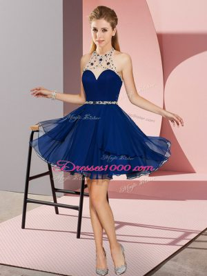 Sleeveless Chiffon Mini Length Zipper Party Dress for Girls in Royal Blue with Beading