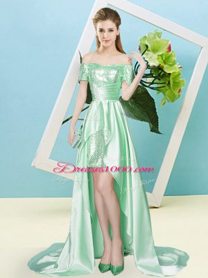 Apple Green Elastic Woven Satin and Sequined Lace Up Party Dress for Toddlers Short Sleeves High Low Sequins
