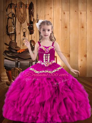 Latest Fuchsia Straps Lace Up Embroidery and Ruffles Party Dress for Toddlers Sleeveless