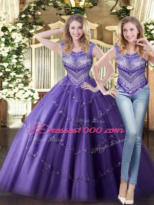 Delicate Floor Length Purple Quince Ball Gowns Tulle Sleeveless Beading
