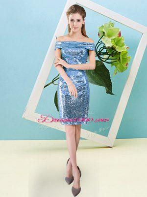 Baby Blue Short Sleeves Mini Length Sequins Zipper Party Dress Wholesale