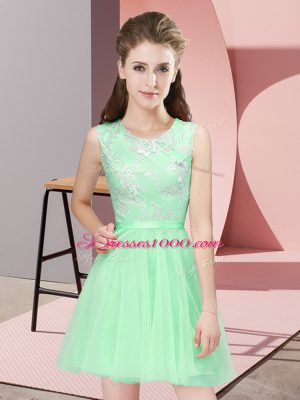 Custom Design Scoop Sleeveless Side Zipper Wedding Party Dress Apple Green Tulle