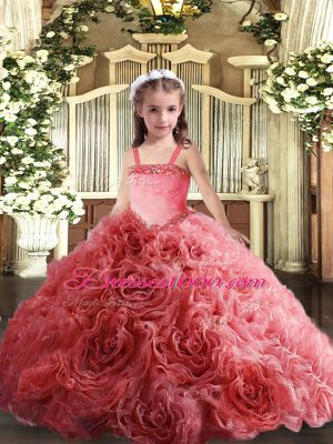 Floor Length Coral Red Pageant Dress for Girls Fabric With Rolling Flowers Sleeveless Appliques