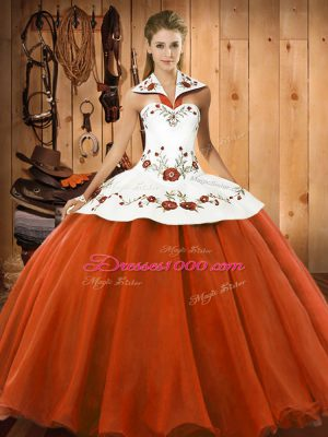 Flare Floor Length Lace Up Sweet 16 Dresses Orange Red for Military Ball and Sweet 16 and Quinceanera with Embroidery