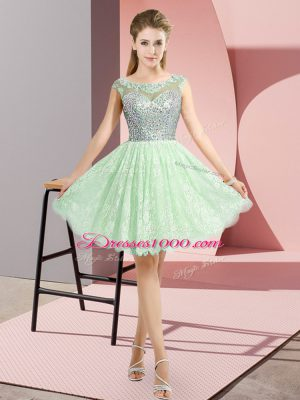 Apple Green Prom Dresses Prom and Party with Beading Scoop Cap Sleeves Backless