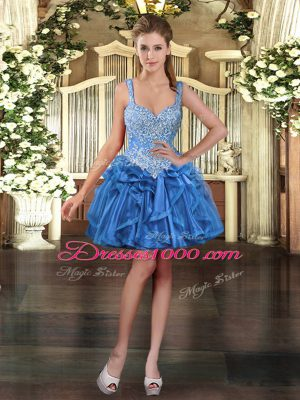 Inexpensive Mini Length Ball Gowns Sleeveless Blue Prom Evening Gown Lace Up