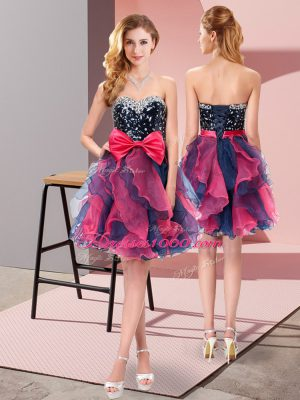 Lovely Sweetheart Sleeveless Organza Court Dresses for Sweet 16 Beading and Ruffles and Bowknot Lace Up