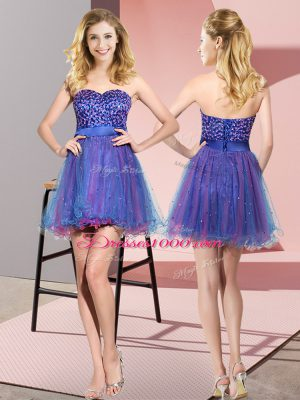 Amazing Multi-color Sleeveless Mini Length Beading and Sequins Lace Up Damas Dress