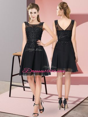 Super Scoop Sleeveless Damas Dress Knee Length Appliques Black Chiffon