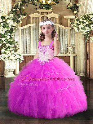 Fuchsia Straps Neckline Beading and Ruffles Little Girls Pageant Gowns Sleeveless Lace Up