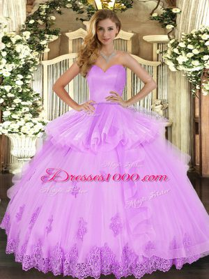 Luxury Sweetheart Sleeveless 15 Quinceanera Dress Floor Length Beading and Appliques and Ruffles Lilac Tulle