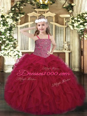 Straps Sleeveless Tulle Glitz Pageant Dress Beading and Ruffles Lace Up