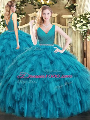 Noble Teal Ball Gowns V-neck Sleeveless Tulle Floor Length Zipper Beading and Ruffles Vestidos de Quinceanera
