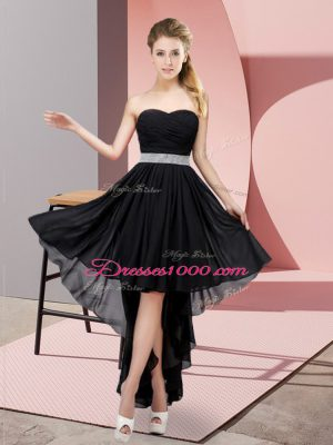 Ideal Black Chiffon Lace Up Quinceanera Dama Dress Sleeveless High Low Beading