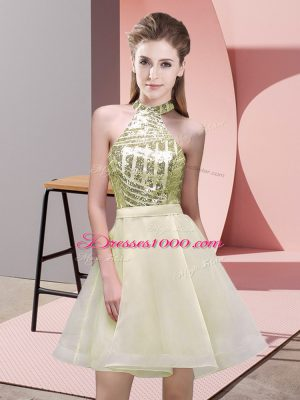 Simple Mini Length Light Yellow Bridesmaid Gown Chiffon Sleeveless Sequins