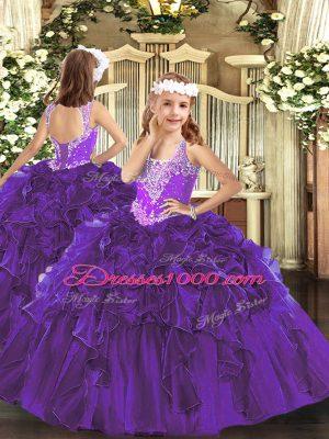 Purple Sleeveless Beading and Ruffles Floor Length Glitz Pageant Dress