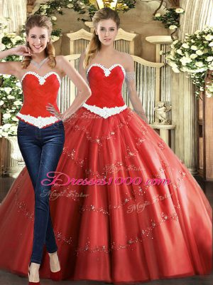 Graceful Coral Red Sleeveless Beading Floor Length Quinceanera Gown