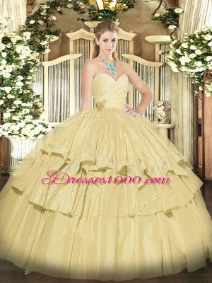 Fabulous Champagne Sweetheart Lace Up Beading and Ruffled Layers Ball Gown Prom Dress Sleeveless