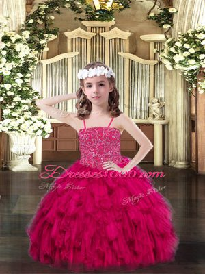 Hot Selling Sleeveless Lace Up Floor Length Beading and Ruffles Pageant Dress Toddler
