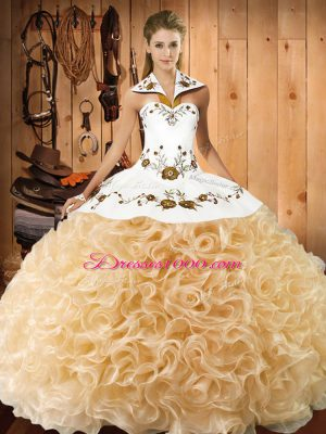 Halter Top Sleeveless Quinceanera Dresses Floor Length Embroidery Champagne Fabric With Rolling Flowers