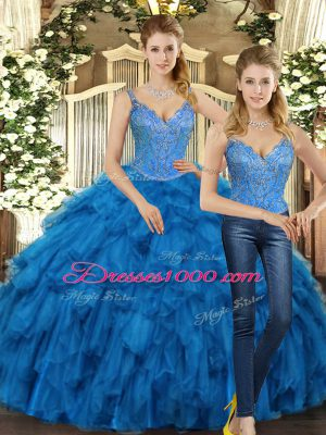 Cute Floor Length Lace Up 15th Birthday Dress Teal for Military Ball and Sweet 16 and Quinceanera with Beading and Ruffles