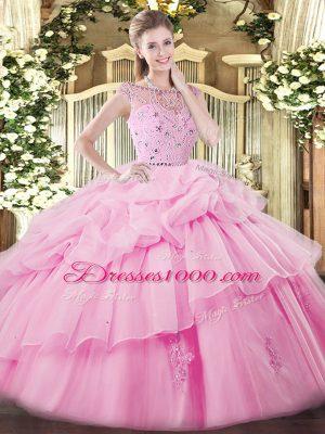 Rose Pink Tulle Zipper Bateau Sleeveless Floor Length Vestidos de Quinceanera Beading and Ruffles and Pick Ups