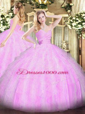 Floor Length Lilac Quinceanera Dress Organza Sleeveless Beading and Ruffles
