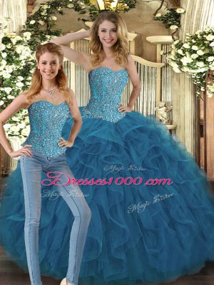 Gorgeous Sweetheart Sleeveless Lace Up Quinceanera Dresses Teal Tulle