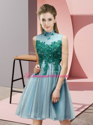 Sleeveless Lace Up Knee Length Appliques Bridesmaid Dress