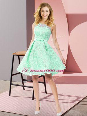 Affordable Sleeveless Zipper Knee Length Bowknot Court Dresses for Sweet 16