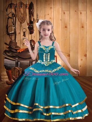 Excellent Teal Ball Gowns Straps Sleeveless Organza Floor Length Lace Up Embroidery and Ruffled Layers Pageant Dress Wholesale