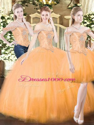 Smart Orange Red Lace Up Quinceanera Dresses Beading and Ruffles Sleeveless Floor Length