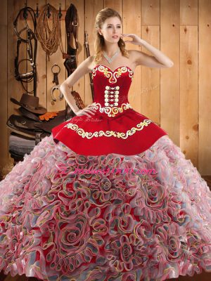 Sleeveless Sweep Train Embroidery Lace Up Sweet 16 Quinceanera Dress