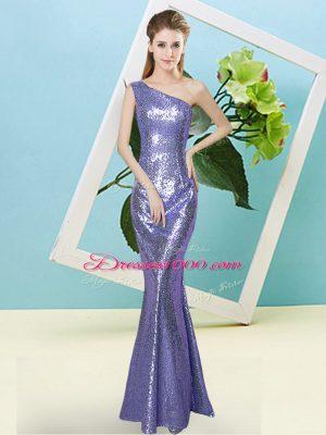 Most Popular Lavender Zipper Party Dress Sequins Sleeveless Floor Length