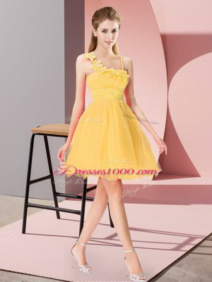 Beading and Hand Made Flower Party Dress Gold Zipper Sleeveless Mini Length