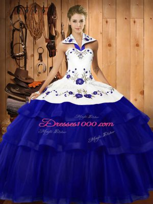 Superior Sweep Train Ball Gowns Quinceanera Dress Royal Blue Halter Top Organza Sleeveless Lace Up