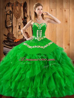 Glorious Satin and Organza Sleeveless Floor Length Vestidos de Quinceanera and Embroidery and Ruffles