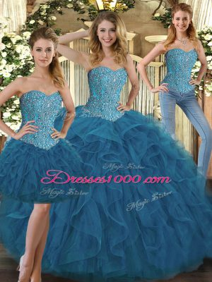 Great Sweetheart Sleeveless Lace Up Quinceanera Gowns Teal Tulle