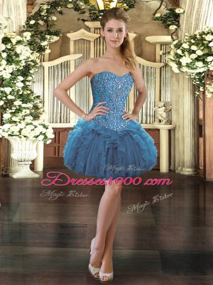 Blue Sleeveless Mini Length Beading and Ruffles Lace Up Casual Dresses